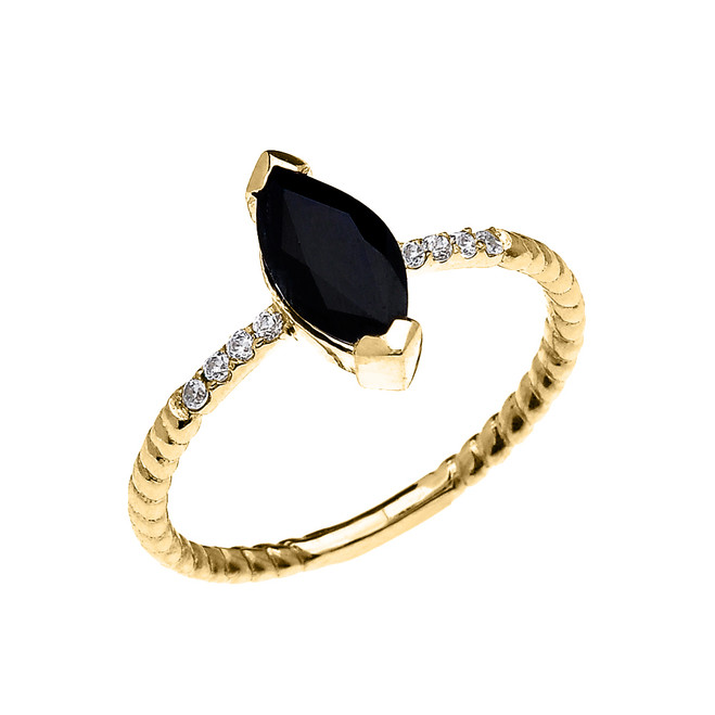 Yellow Gold Dainty Solitaire Marquise Black Sapphire and Diamond Rope Design Engagement/Promise Ring