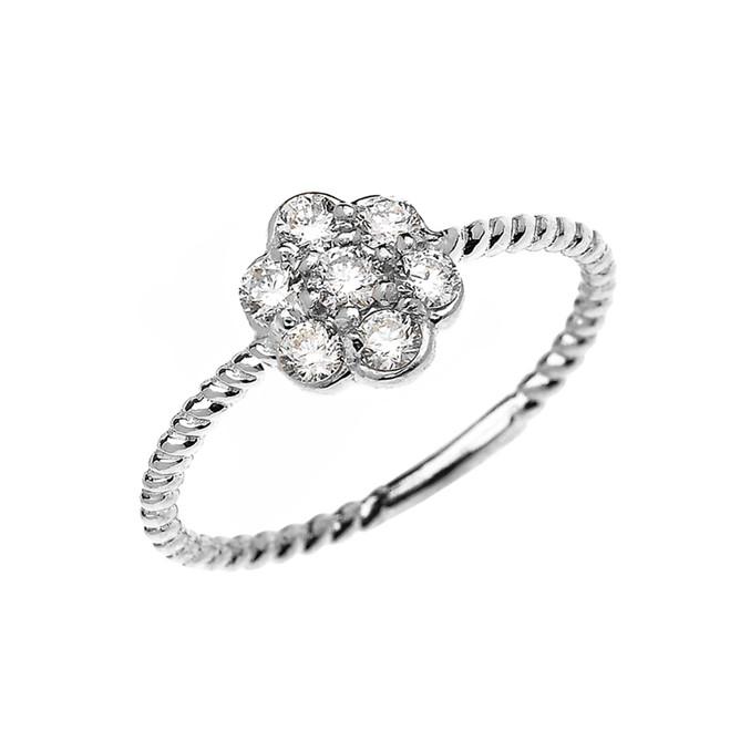 White Gold Dainty 7 Stone Cluster Flower Diamond Rope Design Ring