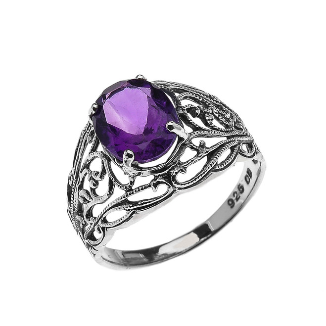 Sterling Silver Modern Filigree Design Genuine Amethyst Ladies Ring