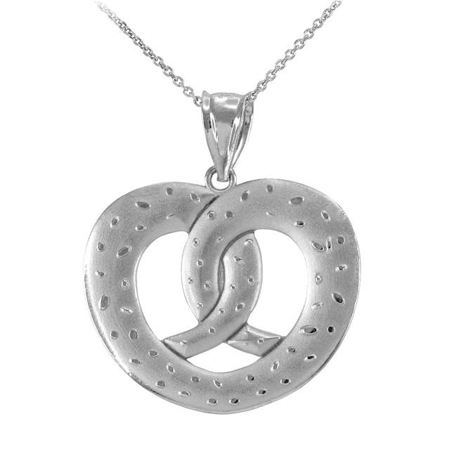 Sterling Silver Love Heart Pretzel Pendant Necklace