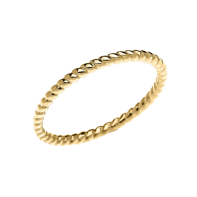 Yellow Gold Dainty Stackable Rope Design Ring
