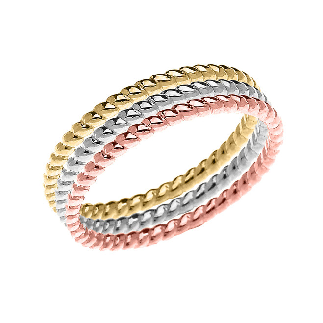 Beautiful Tri-color Gold Dainty Stackable Rope Design Ring