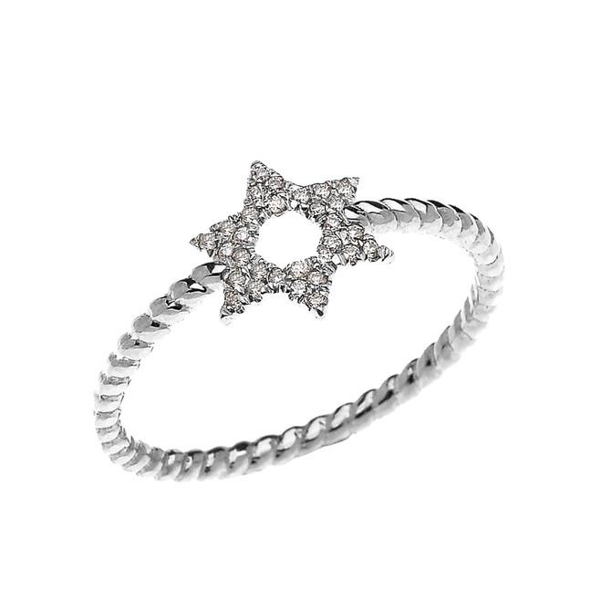 White Gold Dainty Star of David Diamond Rope Design Ring