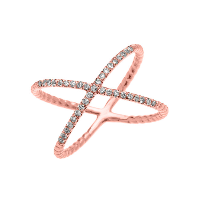 Rose Gold Dainty Criss Cross Diamond Rope Design Ring