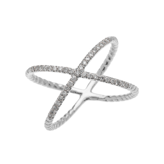 White Gold Dainty Criss Cross Diamond Rope Design Ring