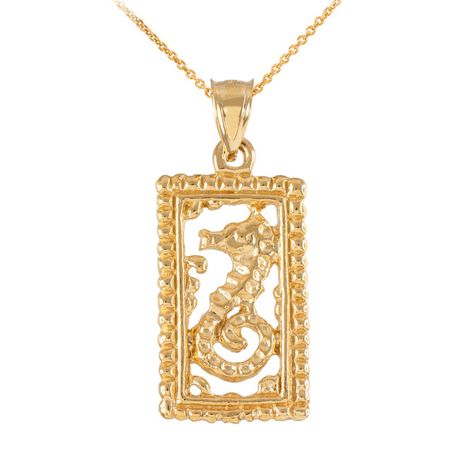 Gold Rectangular Beaded Frame Seahorse Pendant Necklace