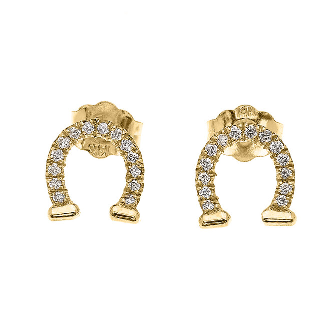 Yellow Gold Horse Shoe Good Luck Diamond Stud Earrings