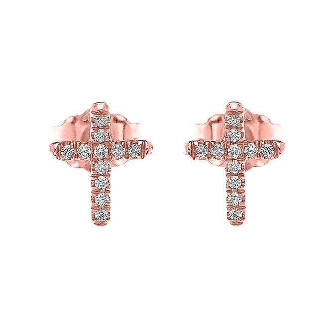 Rose Gold Elegant Cross Diamond Stud Earrings