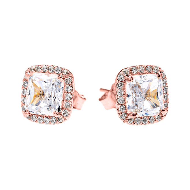 Rose Gold Elegant Diamond Halo Solitaire Princess Cut Cubic Zirconia Stud Earrings