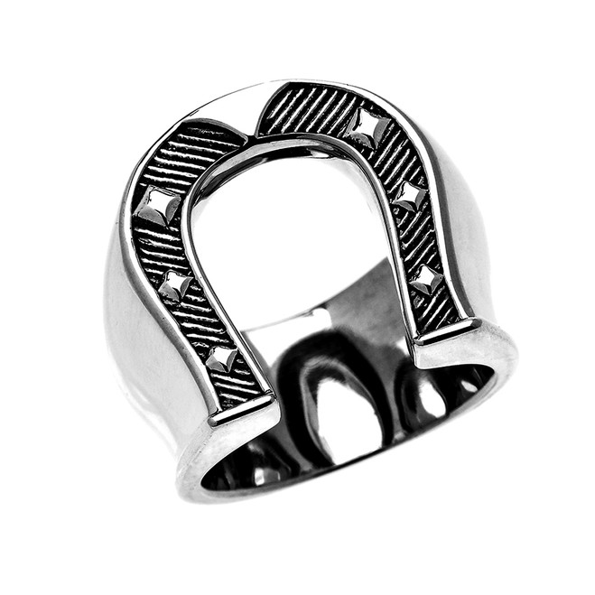 Sterling Silver Bold Horse Shoe Ring for Men
