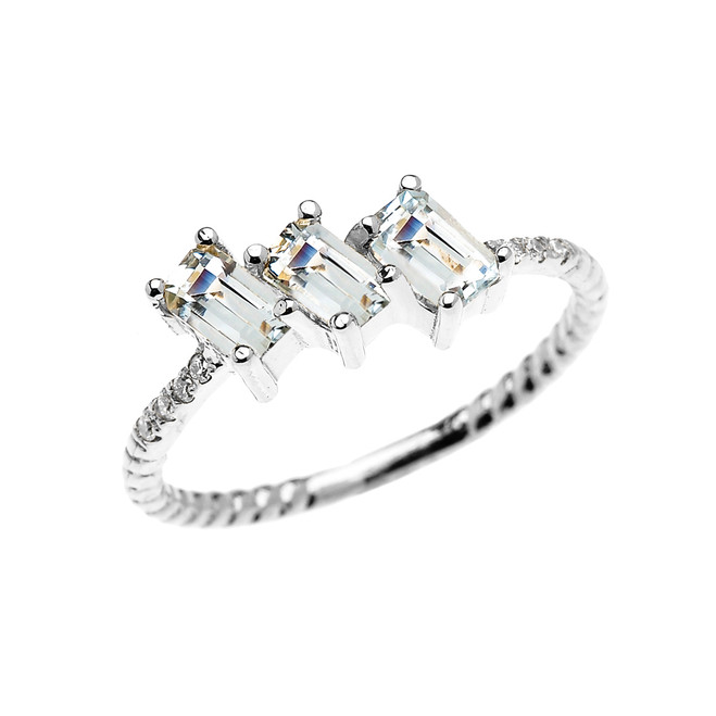 Dainty White Gold Three Stone Emerald Cut Aquamarine and Diamond Rope Design Engagement/Promise Ring