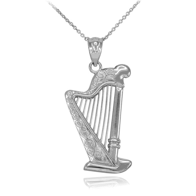 White Gold Harp Pendant Necklace