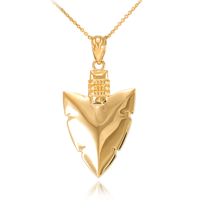 Polished Gold Arrowhead Pendant Necklace