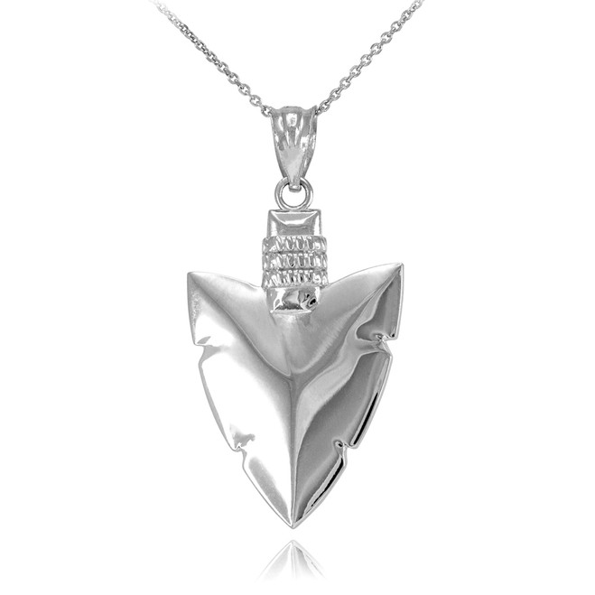 Polished White Gold Arrowhead Pendant Necklace