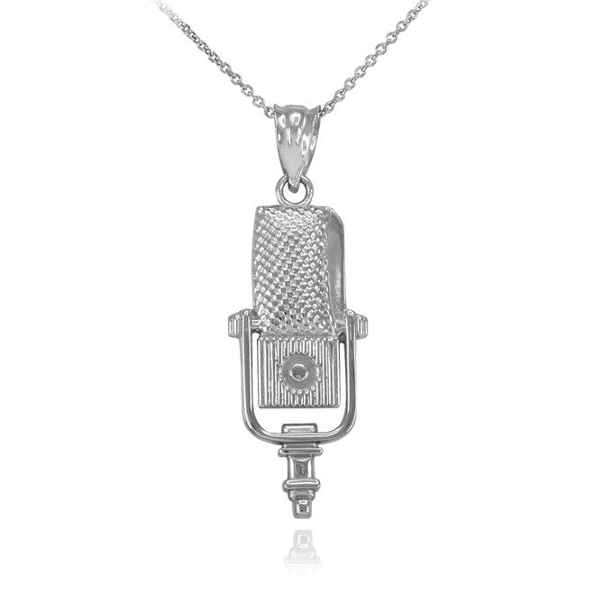 White Gold Studio Microphone Pendant Necklace