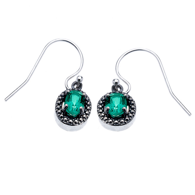 Sterling Silver Oval Green Topaz Dangling Earrings
