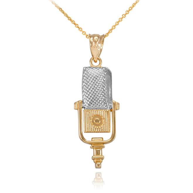 Two-Tone Gold Studio Microphone Pendant Necklace