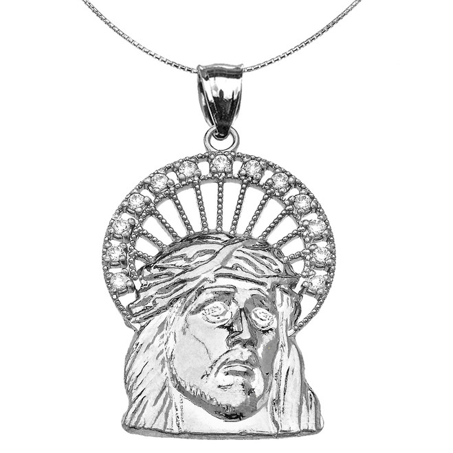 Sterling Silver Cubic Zirconia Halo Jesus Face Pendant Necklace