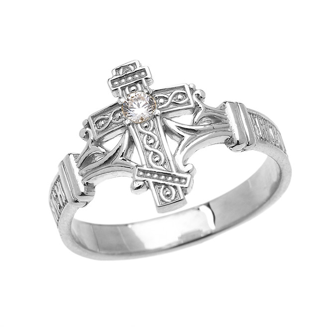 Sterling Silver Solitaire Cubic Zirconia Orthodox Cross with Encrypted Russian Prayer Elegant Ring