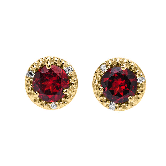 Halo Stud Earrings in Yellow Gold with Solitaire Garnet and Diamonds