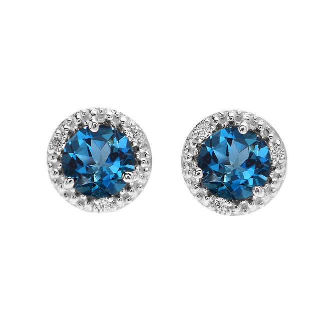 Halo Stud Earrings in White Gold with Solitaire London Blue Topaz and Diamonds