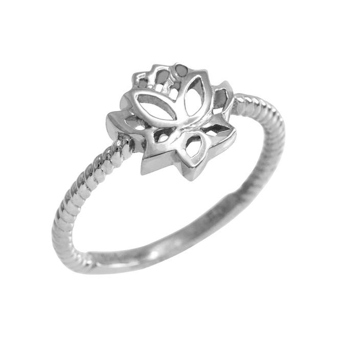 White Gold Beaded Lotus Flower Ring