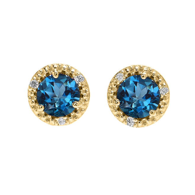 Halo Stud Earrings in Yellow Gold with Solitaire London Blue Topaz and Diamonds