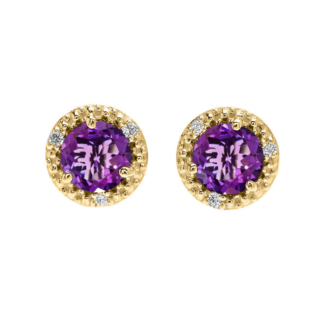 Halo Stud Earrings in Yellow Gold with Solitaire Amethyst and Diamonds
