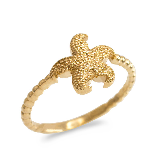 Gold Textured Starfish Beaded Ring