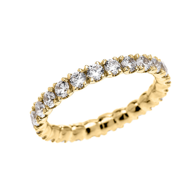 Yellow Gold 2 Carat Cubic Zirconia Stackable Wedding Band