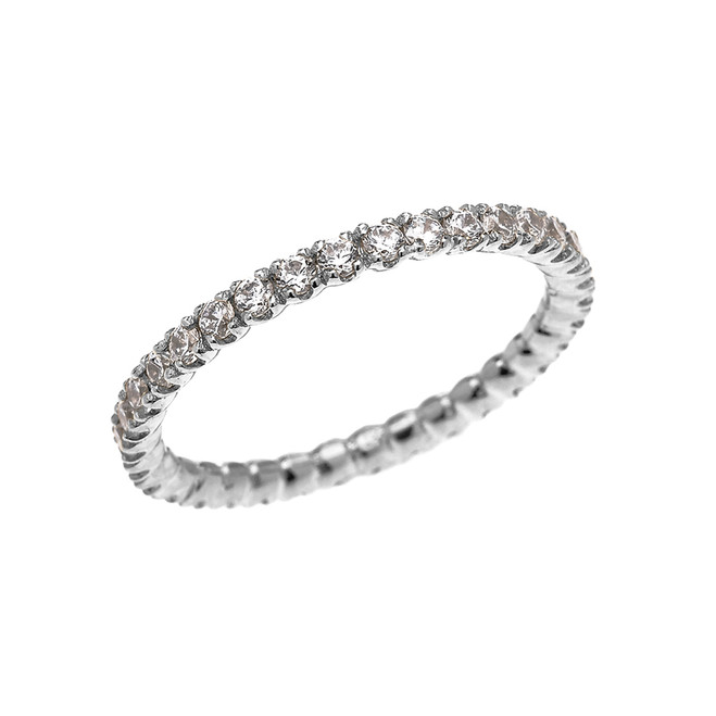 White Gold 0.5 Carat Diamond Stackable Wedding Band