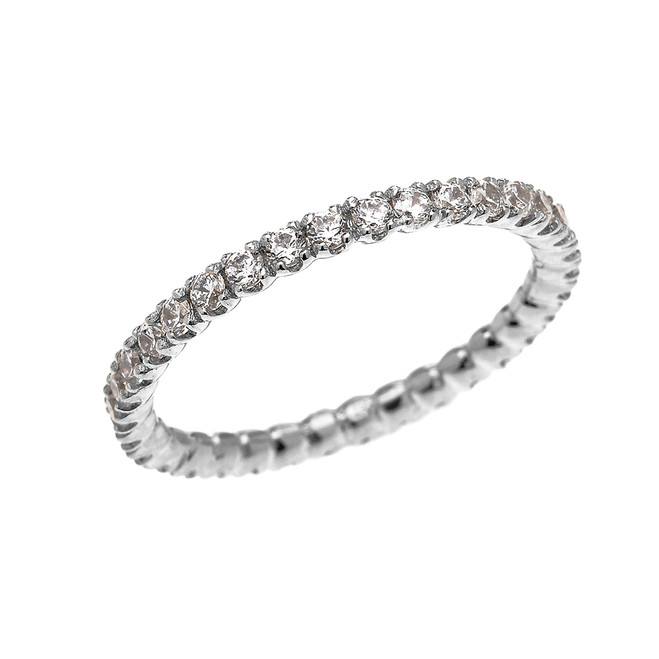 White Gold 1.5 Carat Cubic Zirconia Stackable Wedding Band
