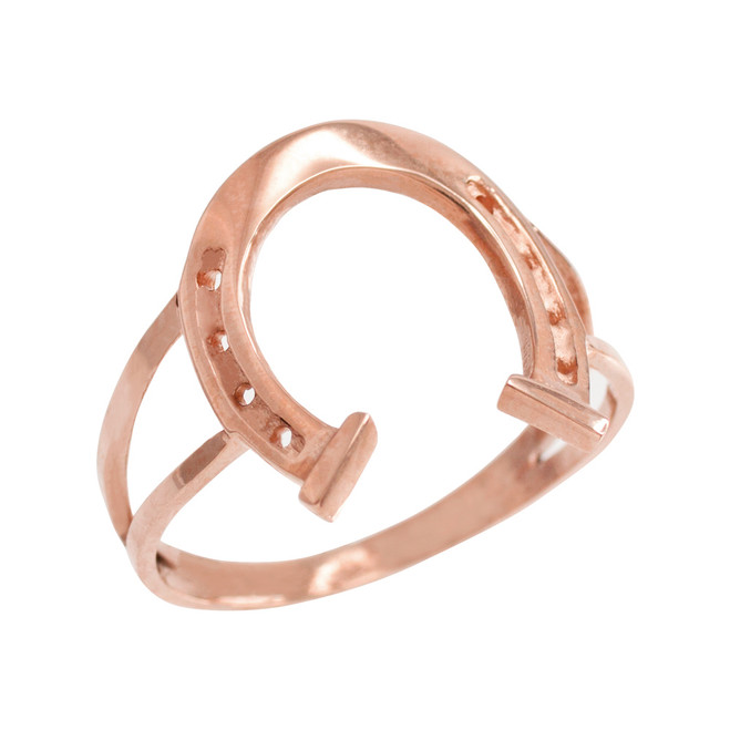 Rose Gold Classic Good Luck Horseshoe Ring