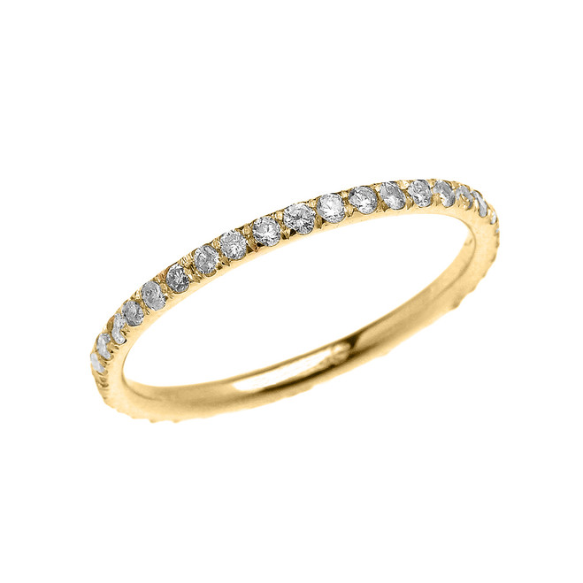 Stackable Yellow Gold Micro Pave Diamond Set Comfort Fit Eternity Band
