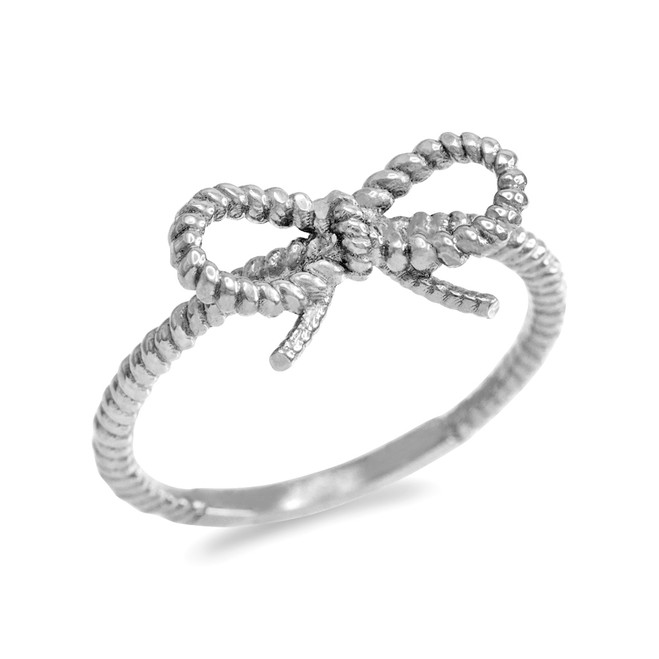 Sterling Silver Ribbon Bow Roped Ring