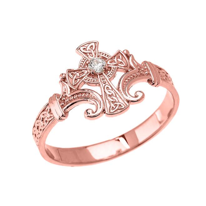 Rose Gold Solitaire Diamond Celtic Cross Trinity Design Elegant Ring