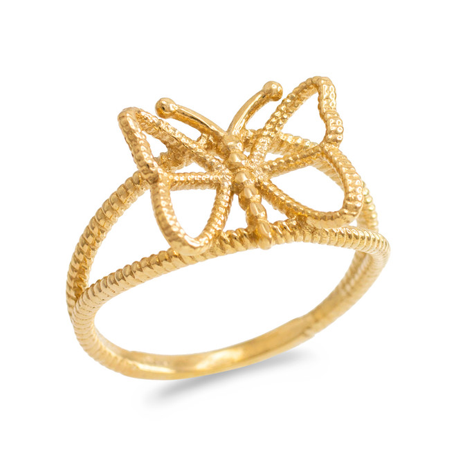 Gold  Open Design Butterfly Ring