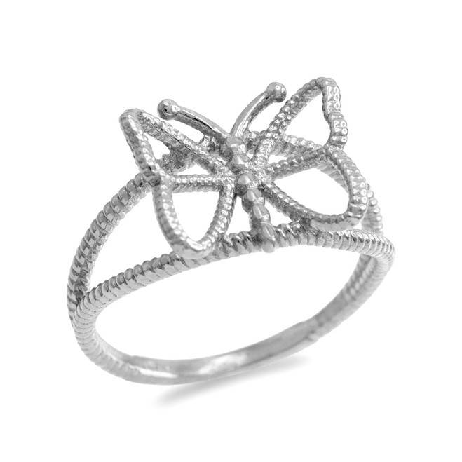 White Gold  Open Design Butterfly Ring