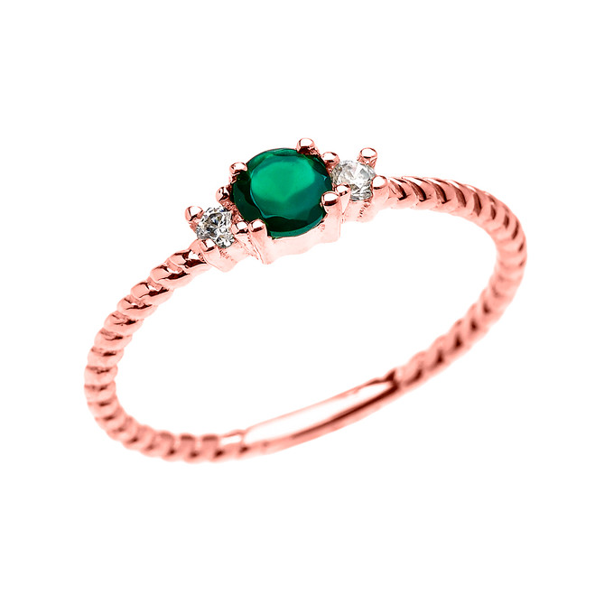 Rose Gold Dainty Solitaire Green Agate and White Topaz Rope Design Promise/Stackable Ring