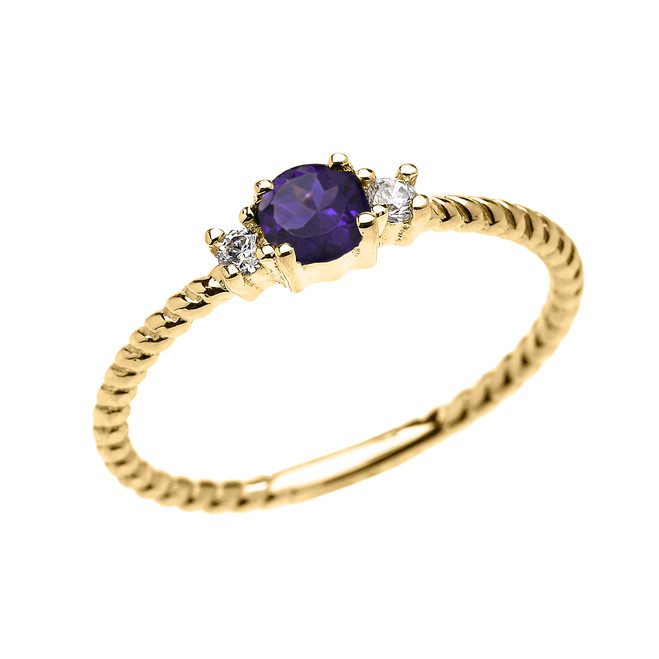 Yellow Gold Dainty Solitaire Amethyst and White Topaz Rope Design Promise/Stackable Ring