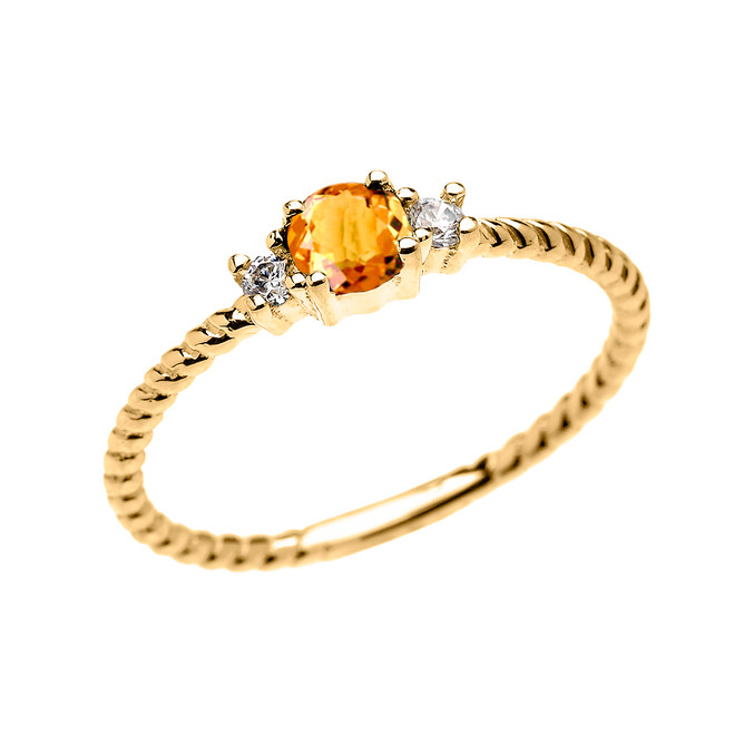 Yellow Gold Dainty Solitaire Citrine and White Topaz Rope Design Promise/Stackable Ring