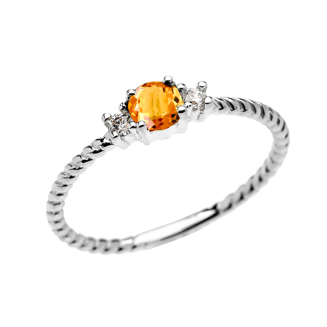 White Gold Dainty Solitaire Citrine and White Topaz Rope Design Promise/Stackable Ring