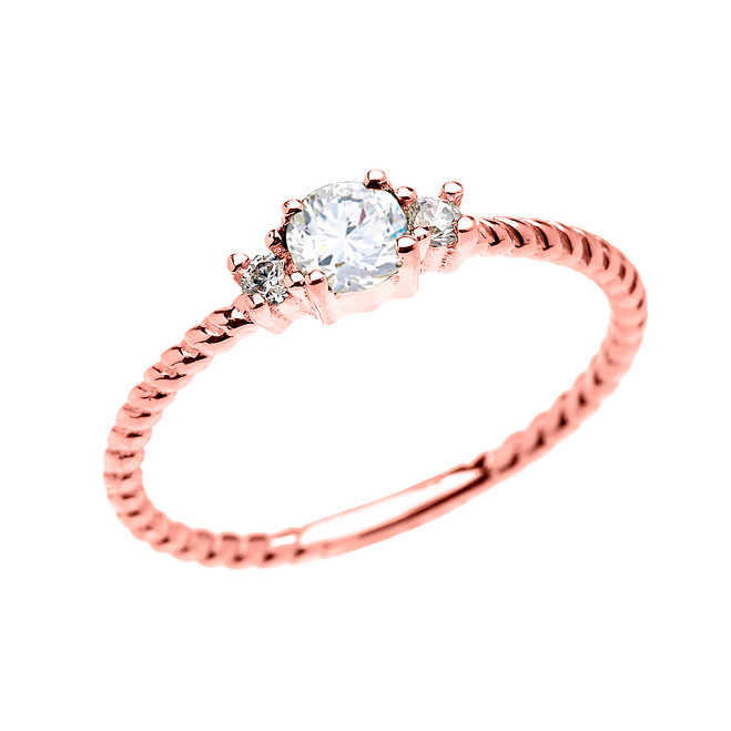 Rose Gold Dainty Solitaire White Topaz Rope Design Promise/Stackable Ring