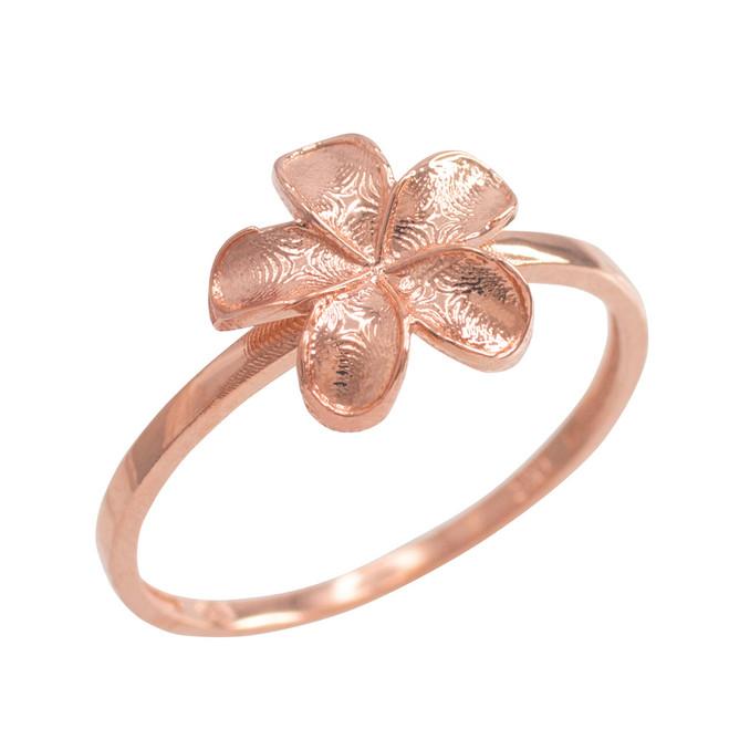 Rose Gold Smooth Hawaiian Plumeria Flower Ring