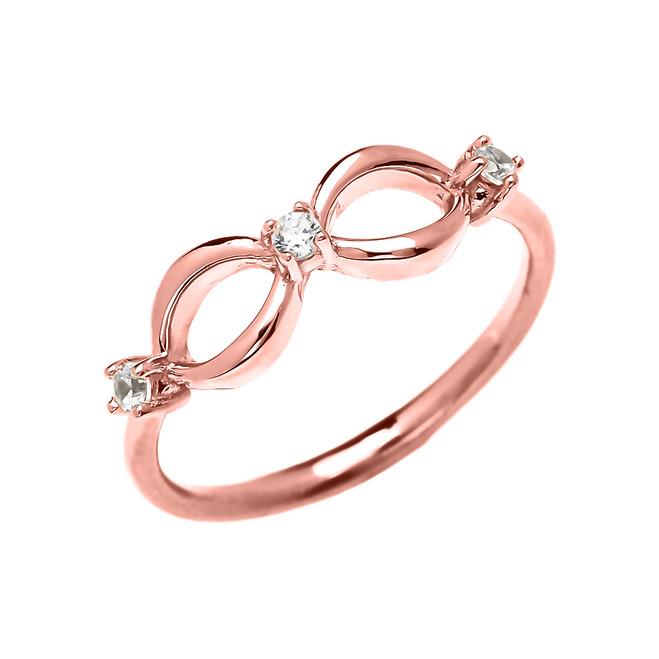 Three Diamond Dainty Infinity Rose Gold Ring