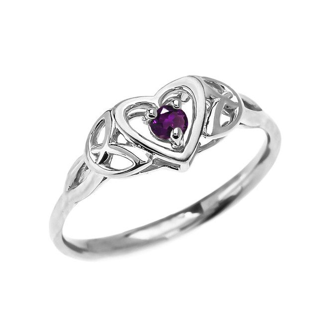 Trinity Knot Heart Solitaire Amethyst White Gold Proposal Ring