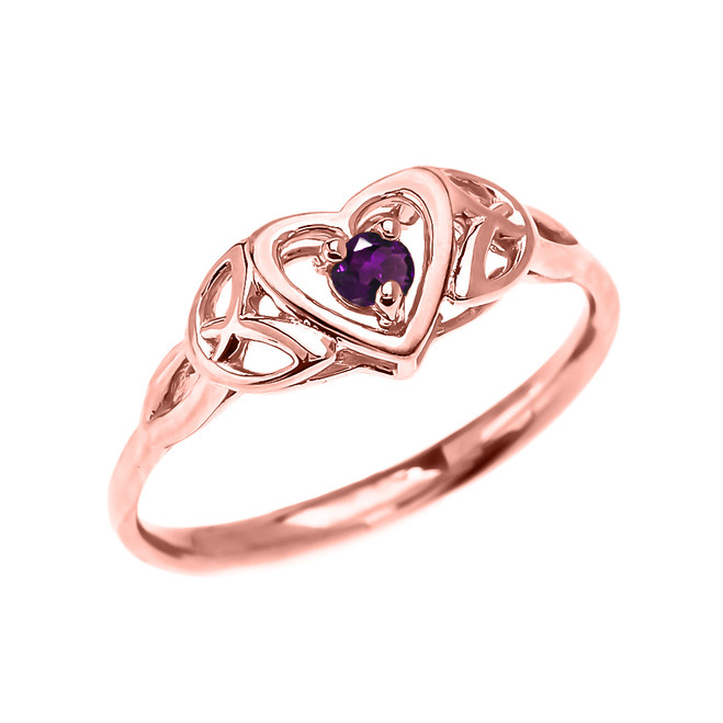 Trinity Knot Heart Solitaire Amethyst Rose Gold Proposal Ring