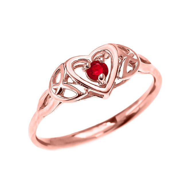 Trinity Knot Heart Solitaire Ruby Rose Gold Proposal Ring