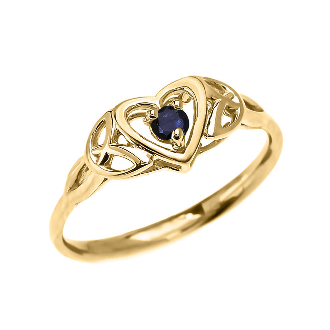 Trinity Knot Heart Solitaire Sapphire Yellow Gold Proposal Ring