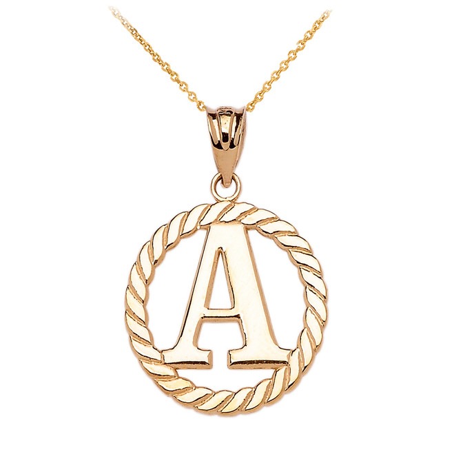 "Yellow Gold ""A"" Initial in Rope Circle Pendant Necklace"